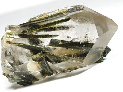 エピドート入り水晶未研磨ポイント